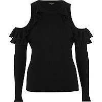 Black ribbed ruffle cold shoulder top