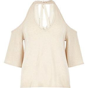 Cream cold shoulder flute sleeve top