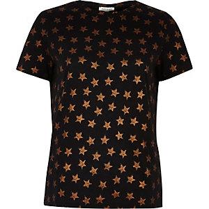 Black metallic star print T-shirt