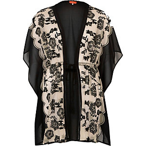 Nude and black floral print caftan