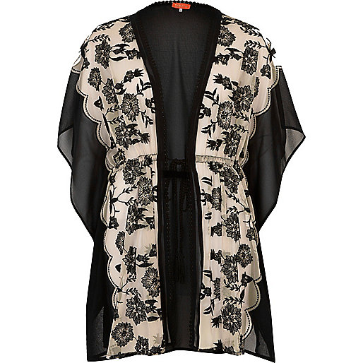 Nude and black floral print kaftan