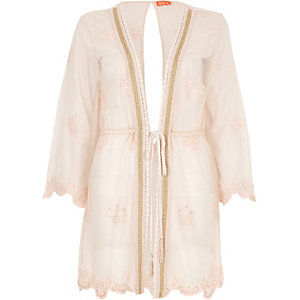 Pink embroidered caftan