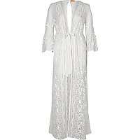 White sheer maxi caftan
