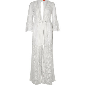 Caftan long transparent blanc