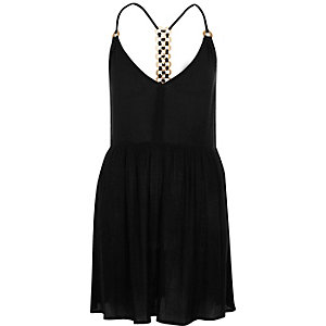 Black ring back cami beach dress