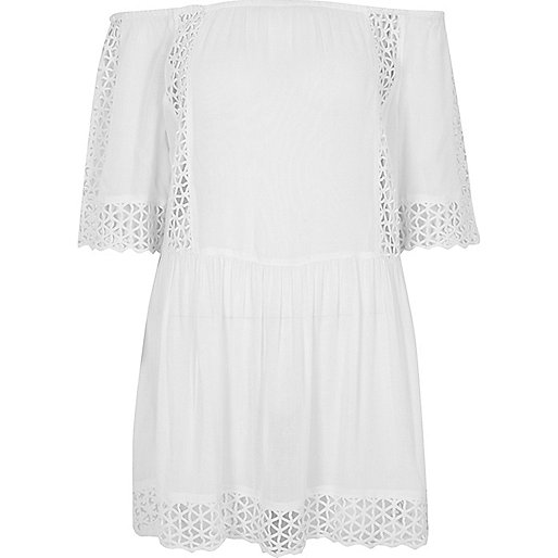 White cutwork bardot mini beach dress