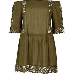 Khaki cutwork bardot beach dress