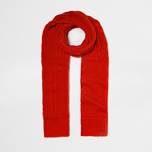 Bright red cable knit scarf