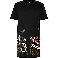 Black embroidered hem oversized T-shirt