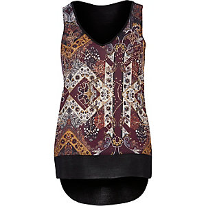 Purple western print top