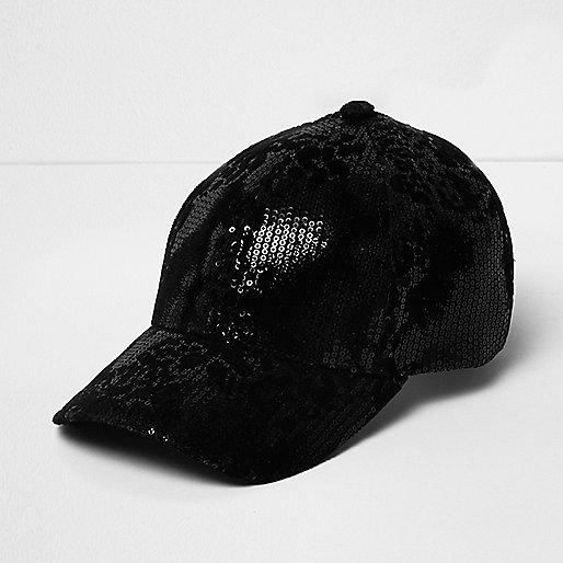 Black sequin cap