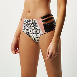 Pink floral print high waisted bikini bottoms