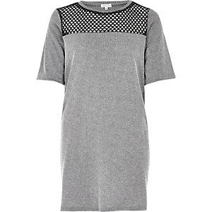 Graues, langes T-Shirt mit Mesh-Einsatz