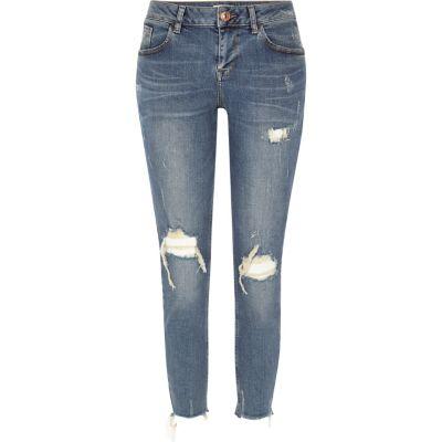 Alannah ripped relaxte skinny jeans met blauwe wassing