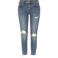 Blue wash Alannah ripped relaxed skinny jeans