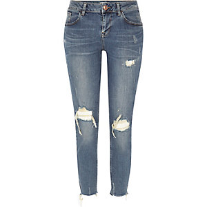 Alannah ripped relaxte skinny jeans met blauwe wassing