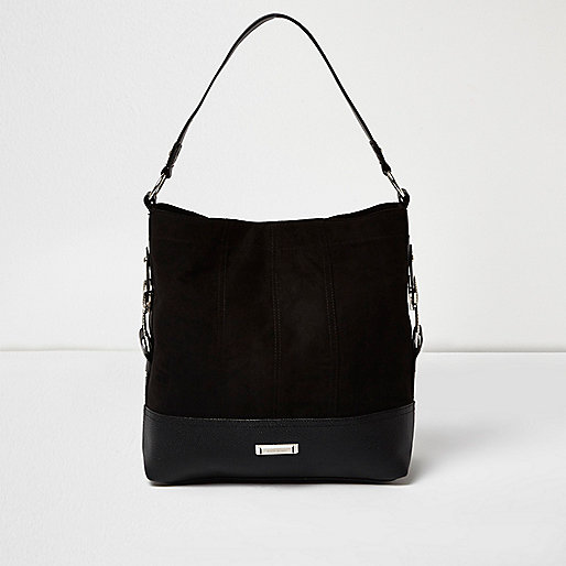 Black panel western slouch bag