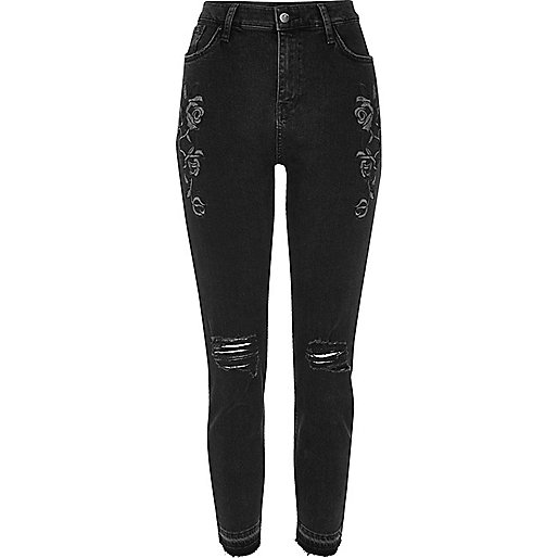 Black floral ripped Lori high waisted jeans
