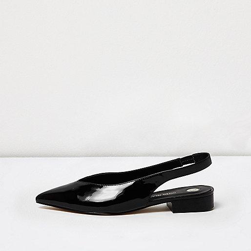 Black patent point toe slingbacks