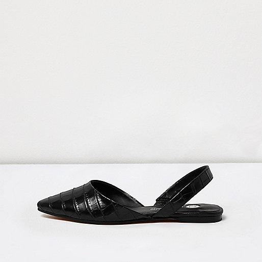 Sandales effet crocodile noires à bride arrière