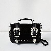 Mini sacoche noire avec boucle style western