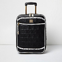 Black quilted snake print suitcase