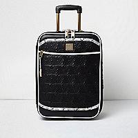 Valise de cabine imprimé serpent noire matelassée