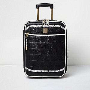 Schwarzer, gesteppter Handgepäckskoffer in Schlangenlederoptik