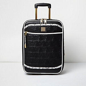 Zwarte doorgestikte koffer met slangenprint