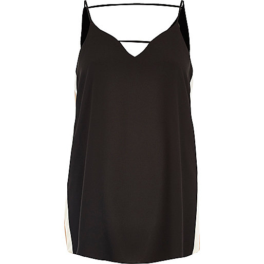 Black sports panel cami top