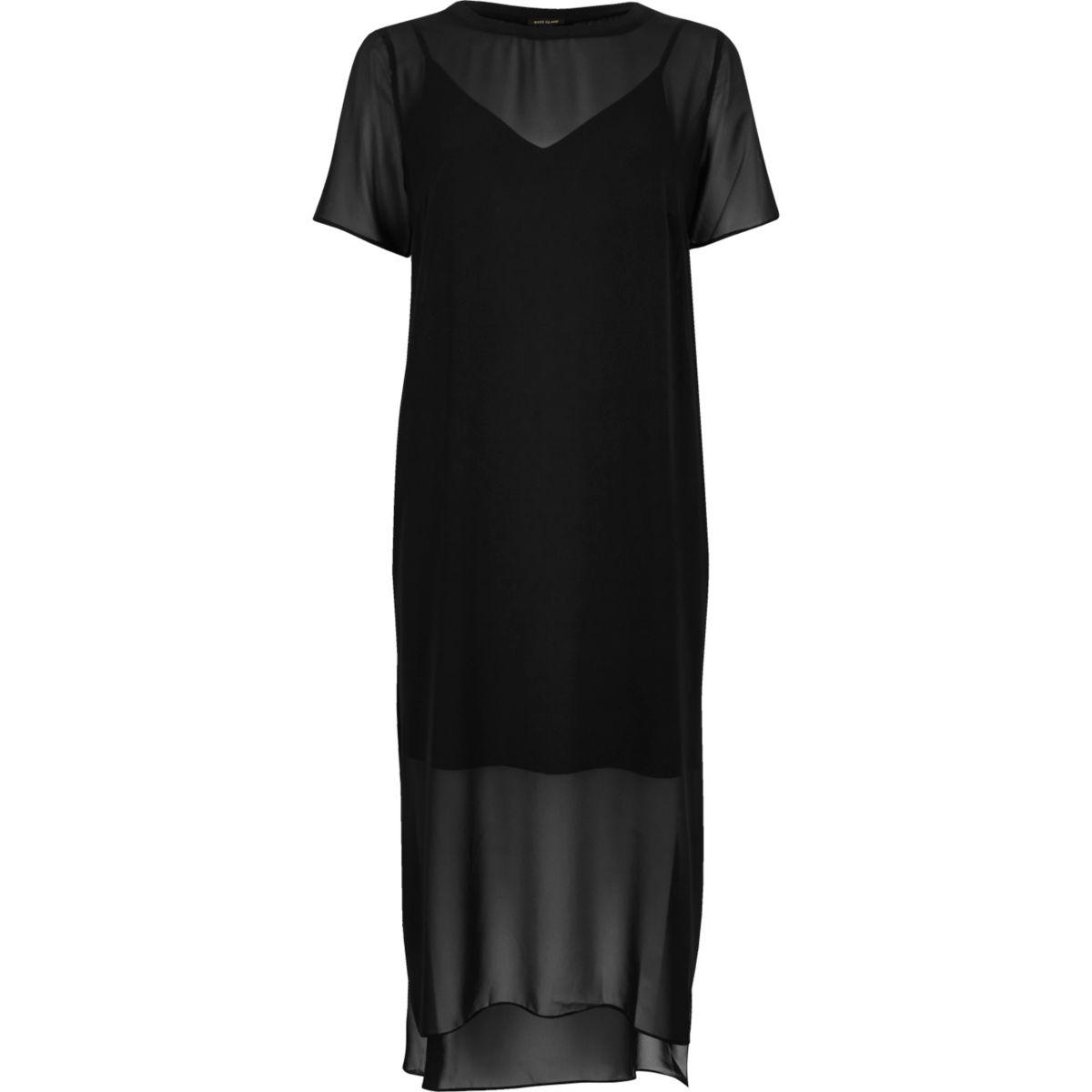 Zwarte T-shirt midi-jurk van mesh