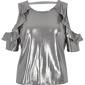 Silver frill cold shoulder top