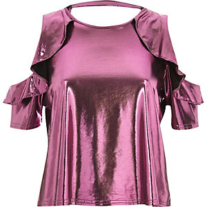 Pink metallic frill cold shoulder top