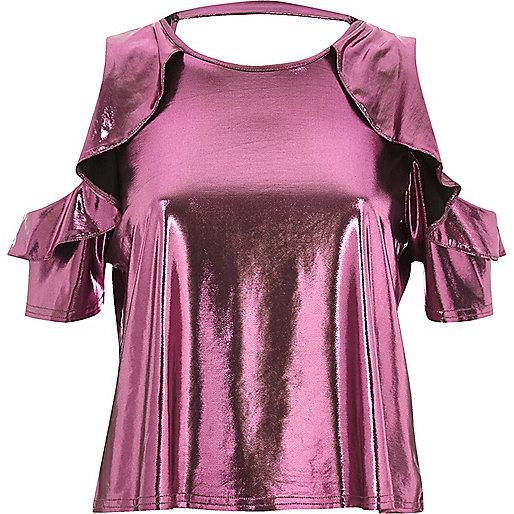 Pink metallic frill cold shoulder top