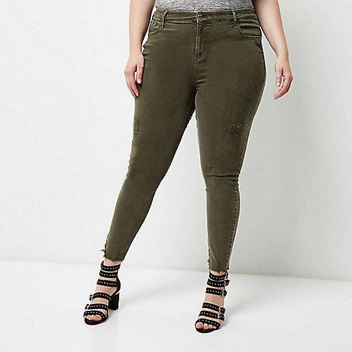 Plus khaki Amelie super skinny jeans
