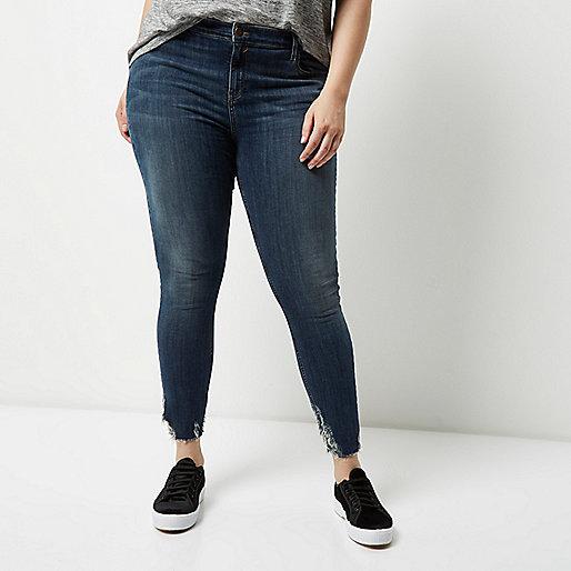 Jean super skinny Amelie Plus délavage foncé