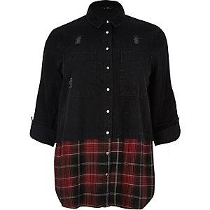 Plus black denim shirt with check hem