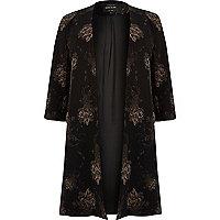 Plus black floral print duster coat