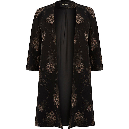 Plus black floral print duster jacket