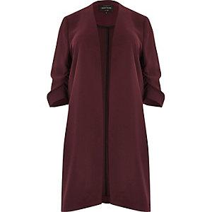 Plus burgundy ruched sleeve duster coat