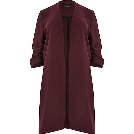 Plus burgundy ruched sleeve duster jacket