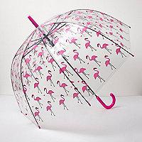 Transparenter Regenschirm mit Flamingomuster