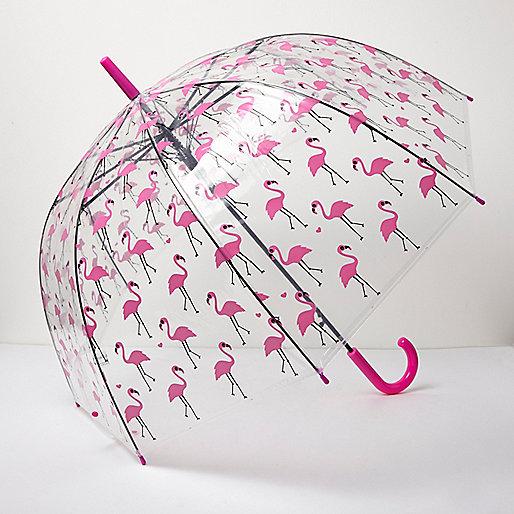 Clear flamingo print umbrella