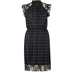 Navy check pleated dress with lace trim