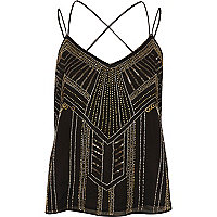 Black and gold embellished strappy cami top