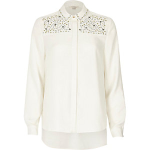 Cream stud star embellished shirt