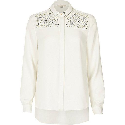 Cream stud star embellished shirt