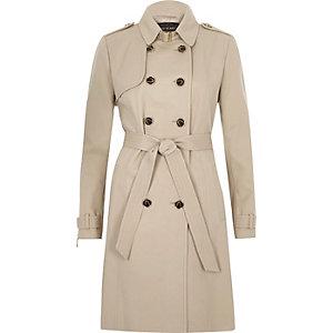 Beige tie waist trench coat