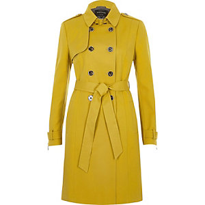 Yellow tie waist trench coat