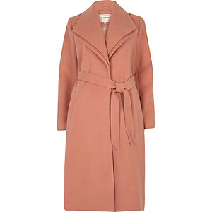 Dark pink double collar coat